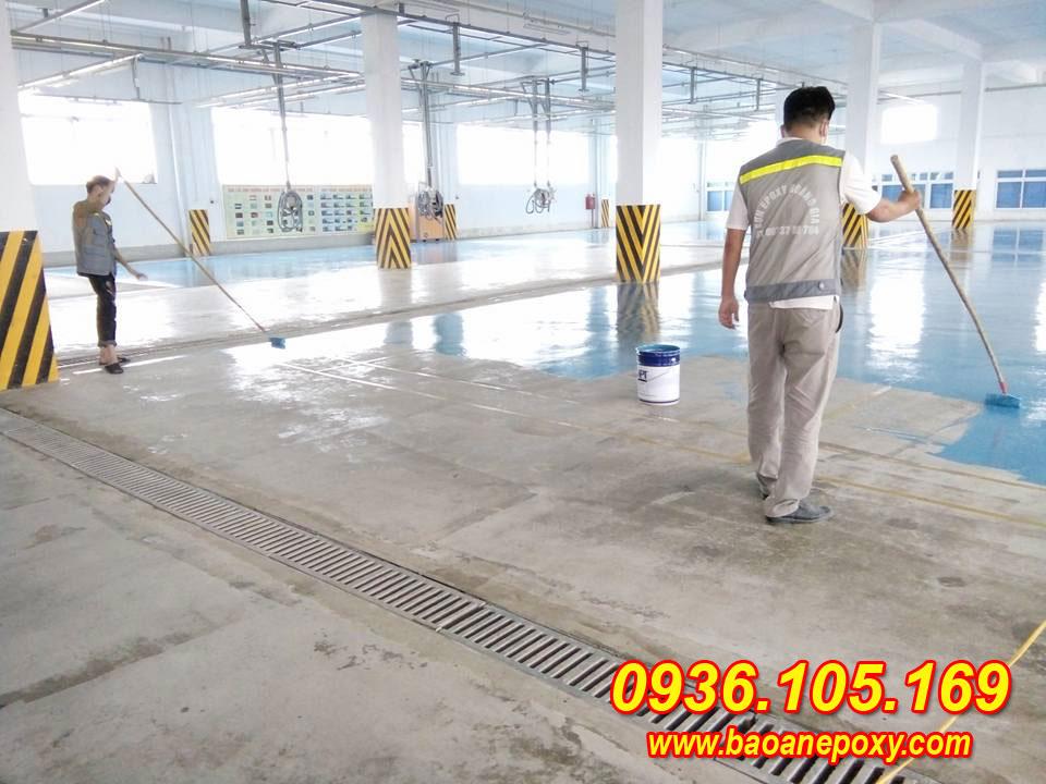 sơn epox nền nhà xưởng tại nhà máy sản xuất bao bì - KCN Phố Nối Hưng Yên