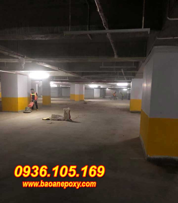 hình ảnh 1 : Mài và vệ sinh mặt sàn tầng hầm ruby việt hưng