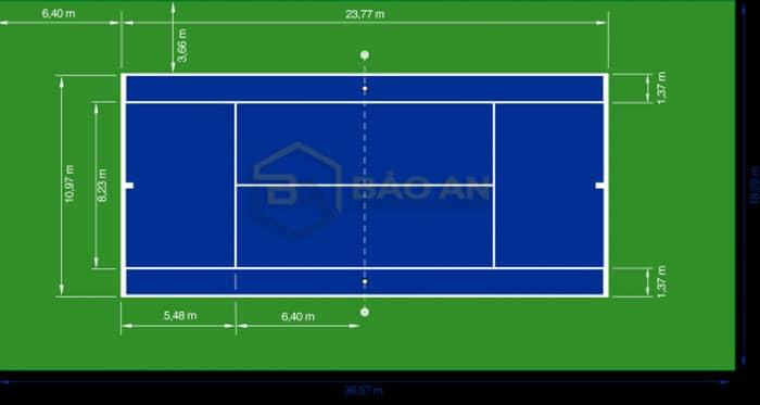 Kích thước sân tennis tiêu chuẩn của Mỹ công bố